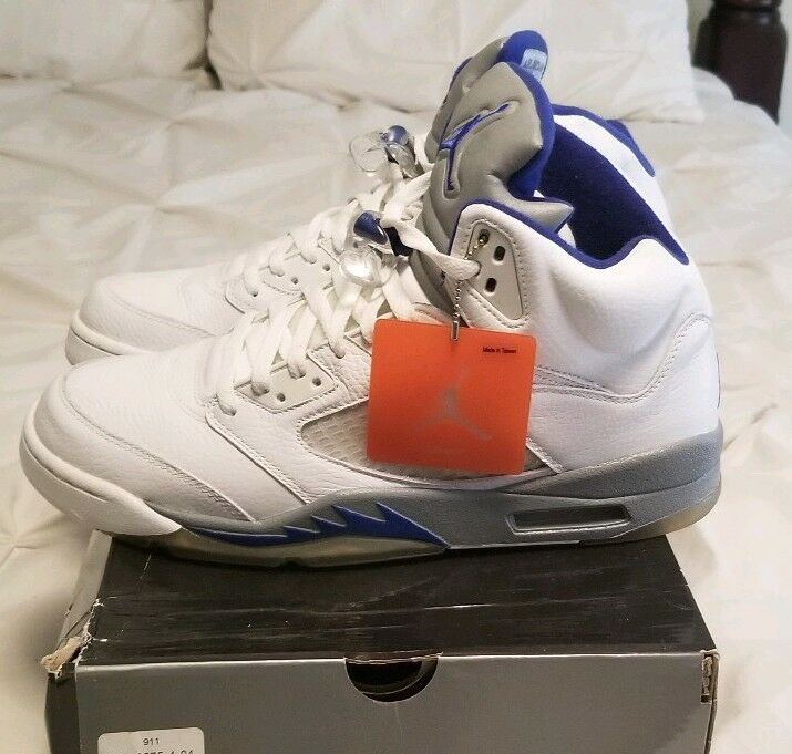 Nike Air Jordan 5 Retro White Grey Blue  2006 Size 12