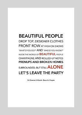 Ed Sheeran Ft Khalid Beautiful People Colour Print Poster Art Ebay