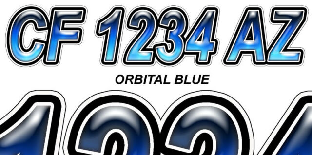 ORBITAL BLUE  Boat Registration Numbers or PWC Decals Stickers Graphics 50 ST.