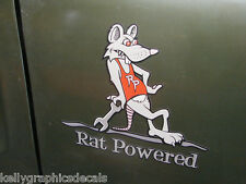 "Rod the Rat Sticker Decal ""RAT POWERED"" Fits: 350 454 Chevy Nova Chevelle Camaro"