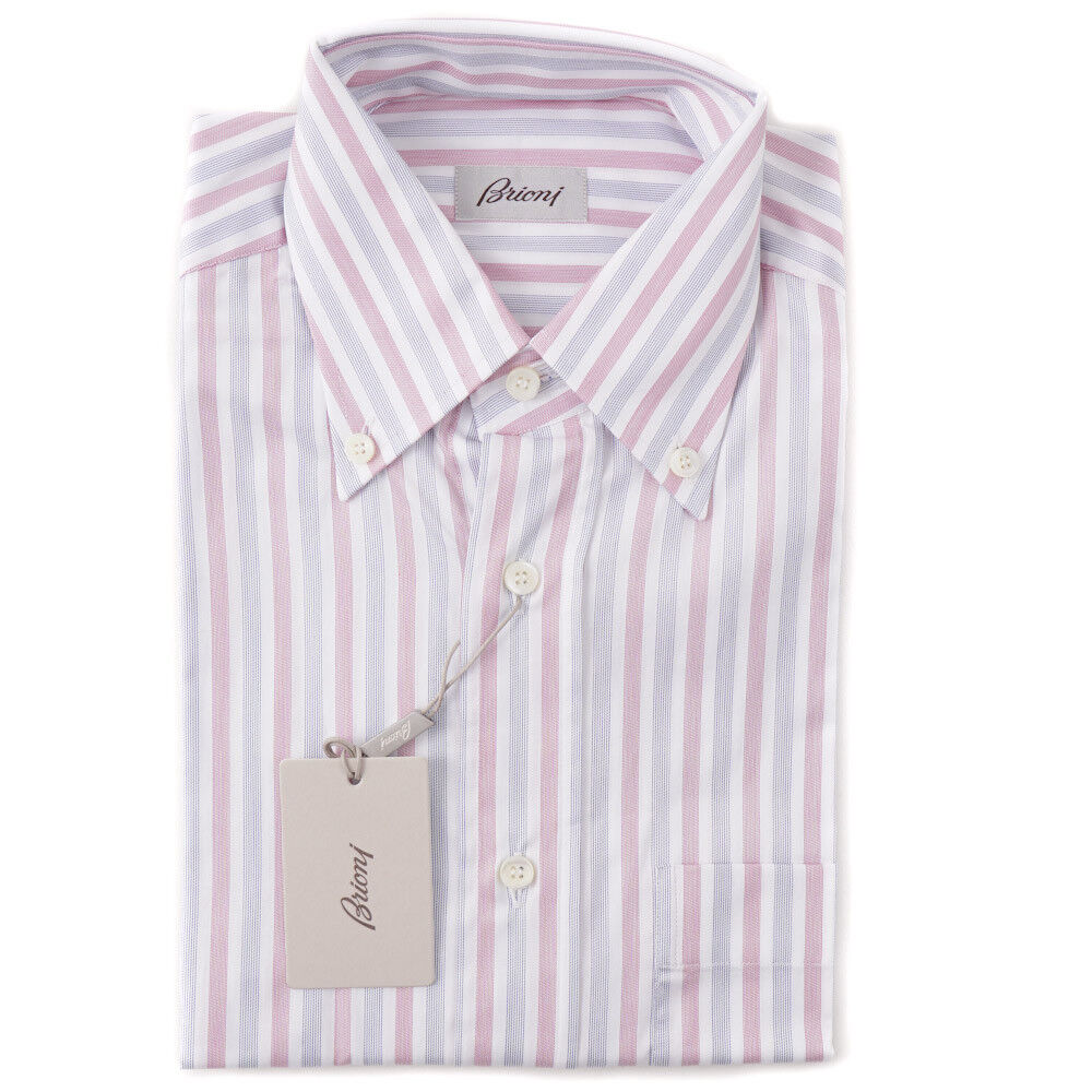 NWT  BRIONI Pink and bluee Striped Short-Sleeve Cotton Shirt M Classic-Fit