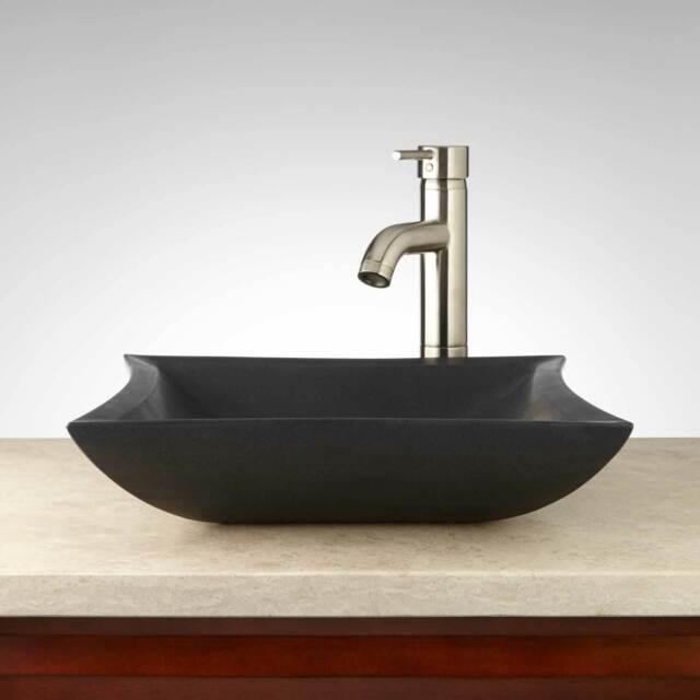 "Signature Hardware 416119 Mauna 16"" Natural Stone Vessel Bathroom - Black"