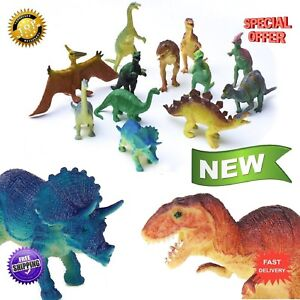 "12 pc Lot 5-6"" Large Assorted Dinosaurs Toys Toy Dinosaur Figures Thick Plastic"