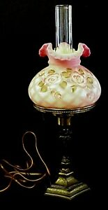 Fenton-Glass-Burmese-Satin-Diamond-Optic-Lamp-With-Hand-Painted-Roses-QVC-Excl