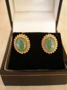 Image Is Loading Pair Of 9 Carat Gold Jade Stud Earrings