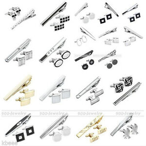 3pc-Men-039-s-Stainless-Steel-Necktie-Tie-Clip-Clasp-Bars-Pin-Cufflinks-Gift-Set