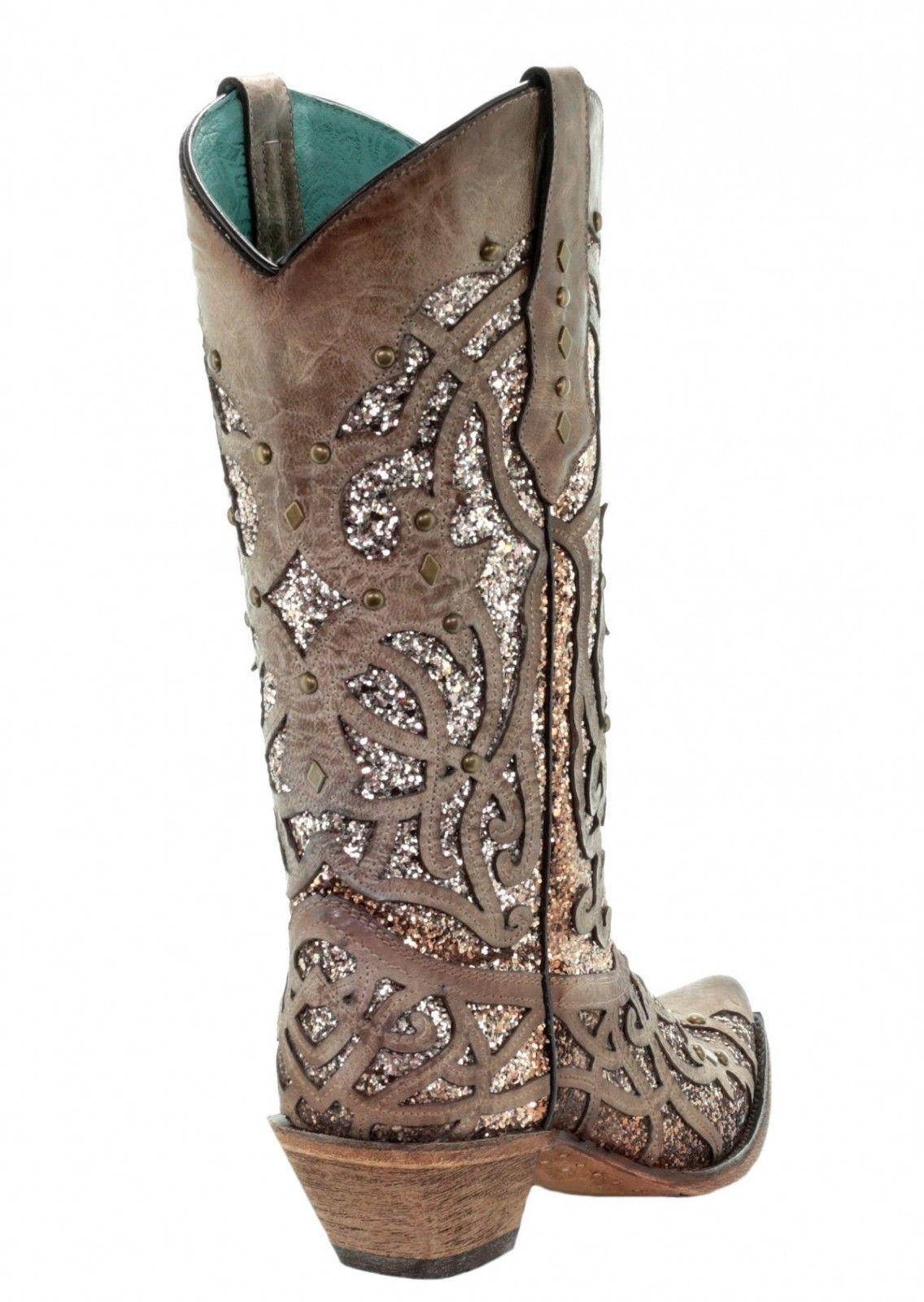 Corral Orix Glitter Inlay and Studs Studs Studs Snip Toe Western  Stiefel C3331 da0e1c