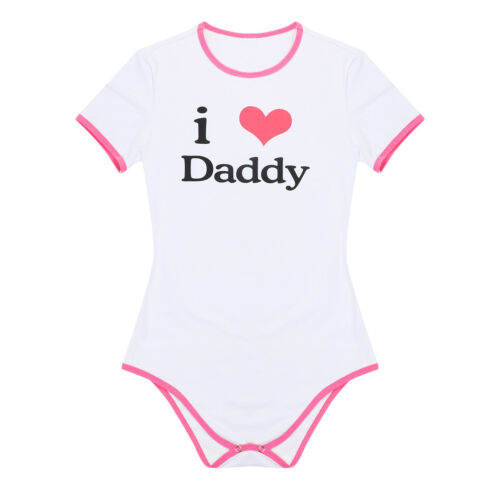 Women I Love Daddy Pattern Short Sleeve Bodycon Bodysuit Jumpsuit Romper Leotard