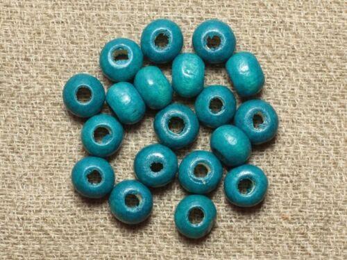 Perles Bois Rondelles 6x4mm Bleu Vert Turquoise   4558550001252 40pc