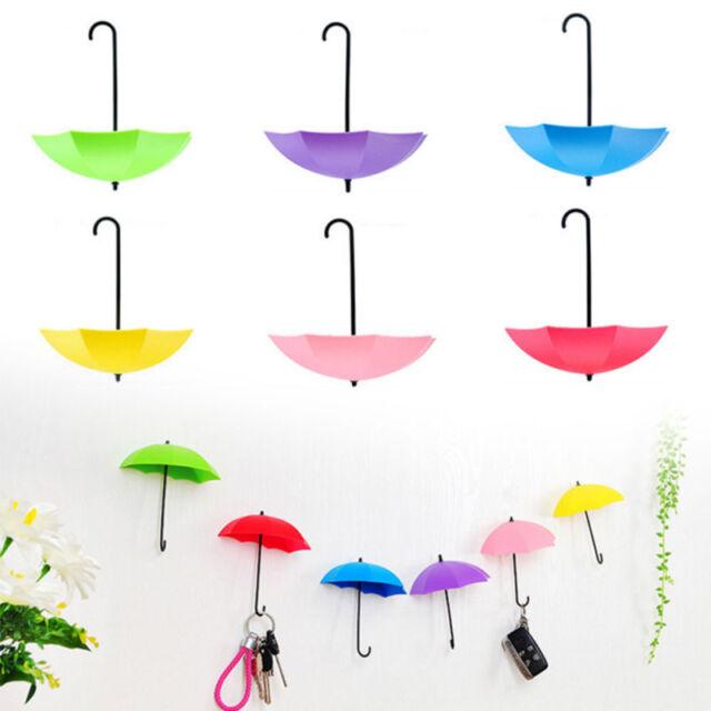 3PCS Colorful Umbrella Shaped Wall Hook Key Holder Organizer Decorative Hanger