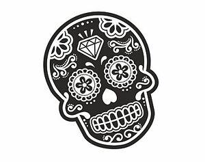 Bw Mexican Day Of The Dead Sugar Skull Tattoo Design Vinyl Car