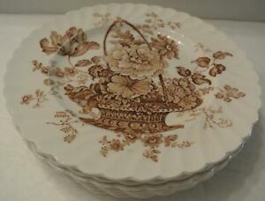 SET-6-Royal-Staffordshire-Charlotte-Brown-8-034-Salad-Plates-Clarice-Cliff-England