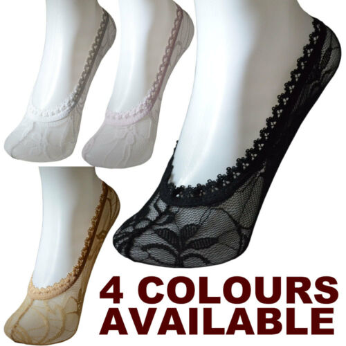 New Lace Womens Ladies Liners Ankle Invisible Socks Pop Black Nude//Beige Pink