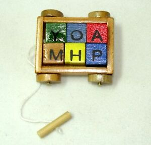 Dollhouse Miniature Wood Wagon with Colorful ABC Blocks for 1:12 Doll House