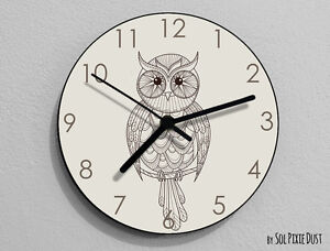 Owl Hand Drawing 1 Wall Clock - Kids Nursery Room,Teens ...