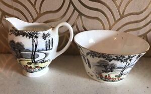 Stylish-Art-Deco-Bone-China-Milk-Jug-amp-Sugar-Bowl