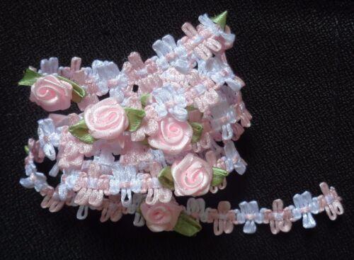 pink//white ribbon trim 1//2 inch wide price per 1 yard