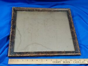 Antique-Solid-Wood-Primitive-Picture-Frame-Old-Rare-Glass-VTG-16x14-13-5x12