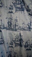 IKEA AGGERSUND Shower Curtain Fabric NAUTICAL SHIPS BEACH GRAY WHITE NEW FREESH