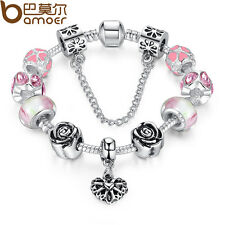 European 925 Silver Bracelet With Heart Charm Murano Beads For Women DIY Jewelry