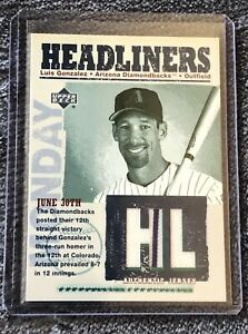 2003 Upper Deck Headliners LUIS GONZALEZ Game Used Jersey Relic Baseball Card