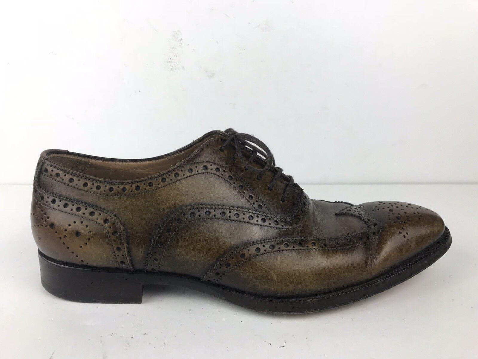 Bianco zapatos Para Hombre Talla Di 8.5 punta del ala bruñido Mocasín Marrón Hecha En Italia
