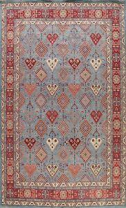 Vegetable Dye Super Kazak Geometric Oriental Area Rug Hand-knotted Tribal 9'x12'