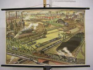 Wandbild-Industrie-Ruhrgebiet-Dampflok-83x57-1955-vintage-industry-area-chart