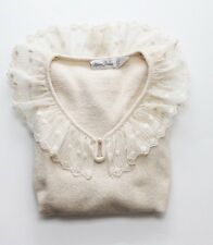 Vintage Lace Collar Sweater Ivory Small S Anthropologie Modcloth Chloe Korean
