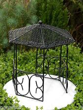 Miniature Dollhouse FAIRY GARDEN Furniture ~ Large Black Metal Gazebo ~ NEW