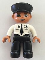 Lego Duplo Male Pilot Black Legs White Top Airplane Logo & Tie Black Hat