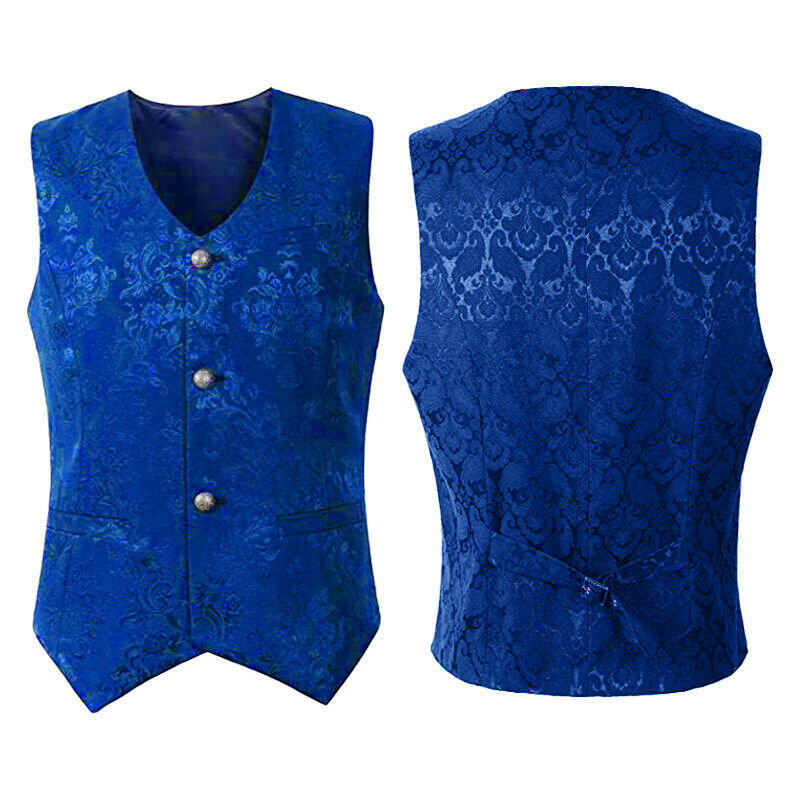 New Brocade Mens Waistcoat Gothic Punk Vintage Vest Halloween Clothes Slim Fit