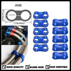 10Pcs-6AN-Hose-Separator-Clamp-for-3-8-Oil-Fuel-Hose-Line-Blue-Aluminum-Adapter