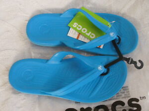 5f1eadeec Image is loading Crocs-Crocband-Flip-Ocean-Electric-Blue-Women-Relaxed-