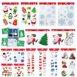 Natale-Natale-Finestra-Vetro-GEL-ADESIVI-DECORAZIONI-PLACCA-Stencil-Babbo-Natale-Design