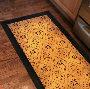 "Beautiful Hand Painted Primitive Area Rug Floor Cloth /""DOLCE/"" Floorcloth 2/'X3/'"