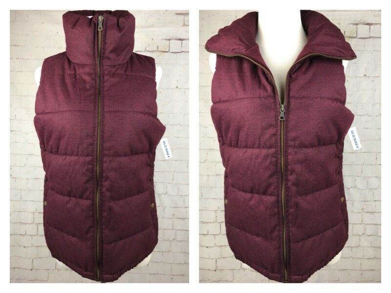 ..NWT OLD NAVY Recycled Materials Burgundy Puffy Vest Sz SP