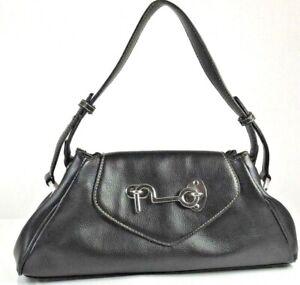 Butterfly-Brand-Black-Simulated-Leather-Medium-Shoulder-Bag-Handbag-Purse