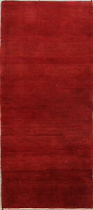 Contemporary-Thick-Pile-Gabbe-Hand-Knotted-Wool-Red-Runner-Rug-3-039-x6-039