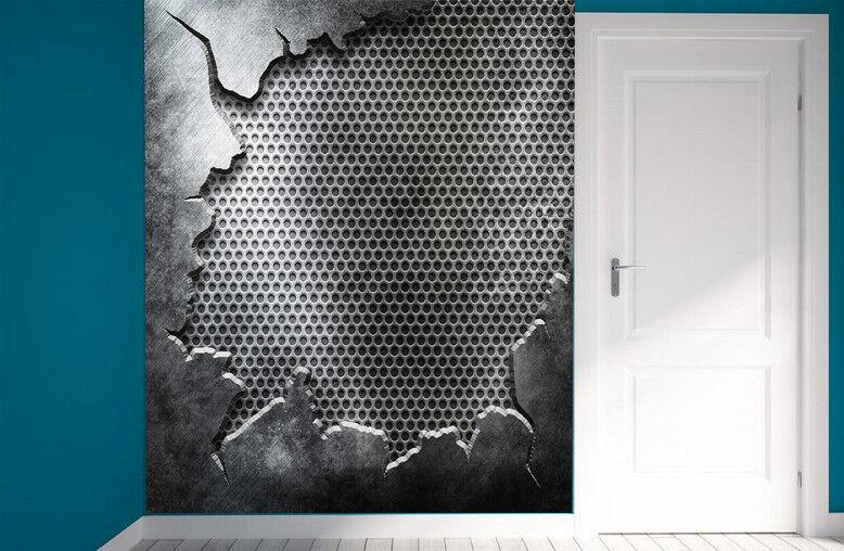 3D greye Wand Loch  88 Tapete Wandgemälde Tapete Tapeten Bild Familie DE