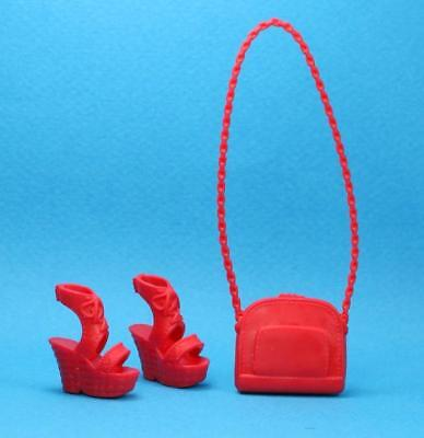 Barbie Red Low Heel Sandals Shoes Purse 2017 Fashionistas CURVY TALL