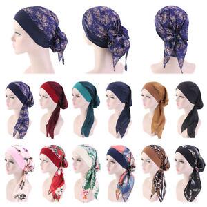 Women-039-s-Sleep-Cap-Hair-Bonnet-Cancer-Hat-Head-Cover-Satin-Turban-Wrap-Headscarf