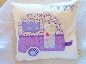 Caravan-Cushion-Kit-Patchwork-Sewing-Craft-Kit-Purple-Lilac-Fabrics-Fun-to-Make