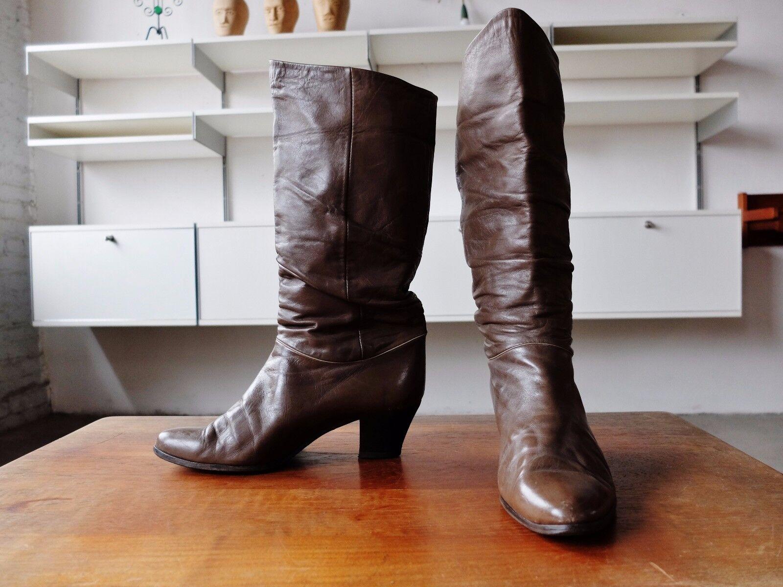 True vintage señora botas marrón de cuero botas marrón Made in