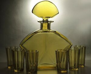 Exclusive-Rare-Art-Deco-Bohemian-Hand-Faceted-Honey-Glass-Decanter-Carafe-Set