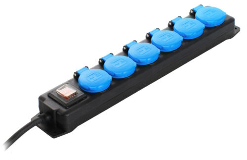6-fach Steckdosenleiste Spritzwassergeschützte /& schlagfeste Steckdosenleiste