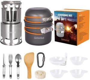 Qdreclod Camping Cookware Mess Kit Camp Cook Set with Outdoor Survival BBQ Stove
