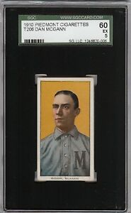 Rare 1909-11 T206 Dan McGann Piedmont 350 Milwaukee SGC 60 / 5 EX