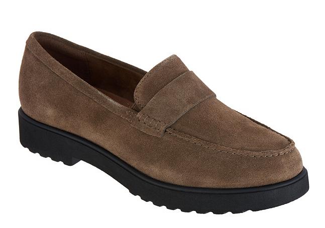 Clarks Artisan Suede Cleated Loafers - Bellevue Hazen Olive Women's Size 8 New