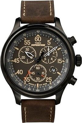 """Timex T49905, Men's """"Expedition"""" Brown Leather Watch, Chronograph, T499059J"""